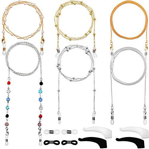 6 Piezas Cadena de Gafas Retenedor de Gafas Elegante Cordón Gafas con Abalorios (Dorado, Plateado)