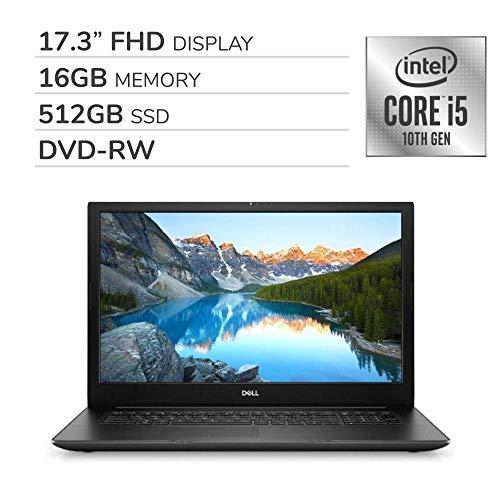 "Dell Inspiron 17 3793 2020 Premium 17.3"" FHD Laptop Notebook Computer, 10th Gen 4-Core Intel Core i5-1035G1 1.0 GHz, 16GB RAM, 512GB SSD, DVD, Webcam, Bluetooth, Wi-Fi, HDMI, Windows 10 Home"