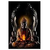 HSFFBHFBH Dieu Bouddha Méditation Peinture sur Toile Bouddhisme Affiches Imprime Moderne Religieux Mur Art Photo pour Salon 50x75 cm (19.7x29.5 Pouces) Pas de Cadre