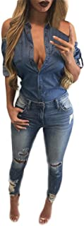 Women Sexy Off Shoulder Blue Denim Long Sleeve T Shirt Tops Blouse