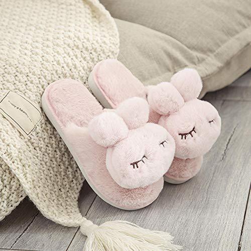 YMYGYR Morbido Antiscivolo Cotone Scarpe,Pantofole da Donna Belle da Interno, Pantofole da casa con Flip Flop, Scarpe Invernali Calde-Rosa 1 38-39