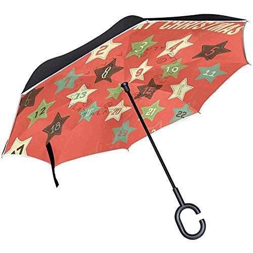 Adventskalender Umgekehrter Regenschirm Reverse Auto Open Double Layer Winddichter Uv-Schutz Umgedrehter Regenschirm Für Den Einsatz Bei Regen Im Freien