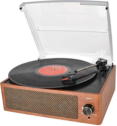 Best Price! Bluetooth Record Player Belt-Driven 3-Speed Turntable, Vintage Vinyl Record Players Buil...