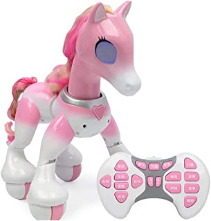 XuBa Electric Smart Single Horned Horse RE/Mote Control Robot Touch Induction Educational Toy English Version Pink Halloween