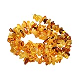 CHGCRAFT 1 Strand Natural Amber Chip Beads Strands Gemstone Stone Beads for DIY Jewelry Making