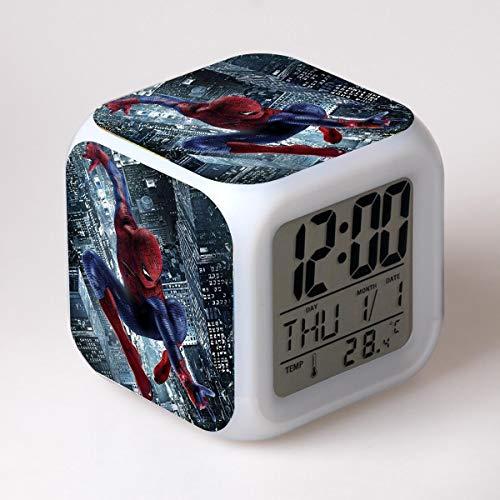 FDGFDG Superhero Digital LED Alarm Clock Decoración para niños Habitación Infantil Cartoon 3D Sticker Reloj electrónico Reloj Temperatura Película Personaje Mini Reloj