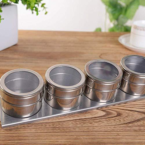YLLAND 4 unids/Set latas de Especias Especias de Acero Inoxidable Jarra de Especias con Pegatinas pimentero shakers Sill Piment Set condimentar Caja Herramientas de Cocina Especia Jarra LNNDE