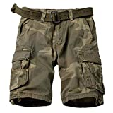 TRGPSG Men's Camo Multi-Pocket Relaxed Fit Casual Shorts,Outdoor Camouflage Twill Cargo Shorts 11' Inseam 6806 C34 Camo 34