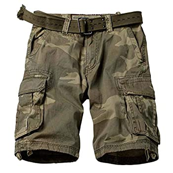 TRGPSG Men s Camo Multi-Pocket Relaxed Fit Casual Shorts,Outdoor Camouflage Twill Cargo Shorts 11  Inseam 6806 C34 Camo 34
