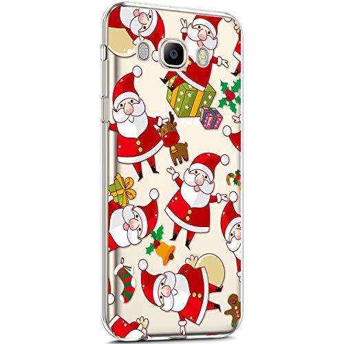 Surakey Cover Samsung Galaxy J5 2016, Custodia Silicone Trasparente Disegni Serie di Natale Christmas Case Ultra Sottile Cristallo Gomma Morbida Protettiva Cover per Galaxy J5 2016,Babbo Natale