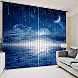 3D Printed Blackout Curtainsdigital Printing Design Distinctive Vertical Curtains, Blue Sky Moon Meteor Printing Simple Stylish Eyelet Curtains Breathable Insulation,For Living Room Bedroom Kid Room