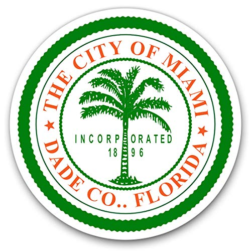 Vinyl Stickers (Set of 2) 10cm - City Miami Florida America USA Travel Decals for Laptops,Tablets,Luggage,Scrap Booking,Fridges, 7893