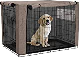 HANSHI Funda para cajón de perro, cubierta ventilada para perrera de mascotas, cubierta de tela de poliéster de doble puerta duradera, flujo de aire/ajuste universal para jaula de perro de alambre (L)