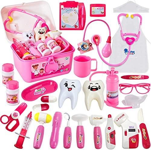 HERSITY Doktor Spielzeug Kinder Arztkoffer Medizinisches Rollenspiel Arzt Spiele Geschenke ab 3 4 5 Jahren Mädchen Kinder, Rosa