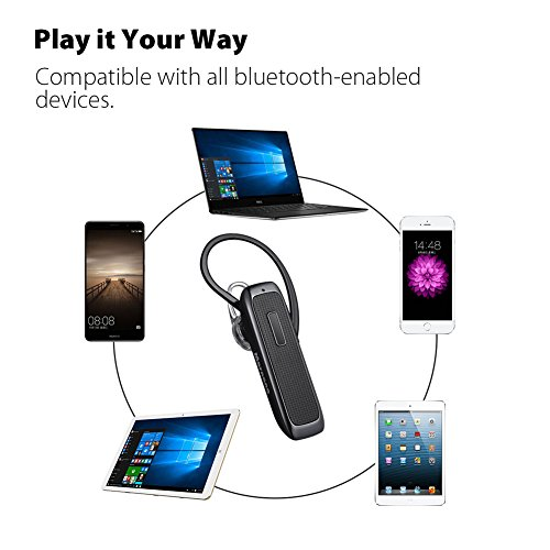 Bluetooth Headset, Marnana Wireless Bluetooth Earpiece with 18 Hours Playtime and Noise Cancelling Mic, Ultralight Earphone Hands-Free for iPhone iPad Tablet Samsung Android Cell Phone Call -Upgraded