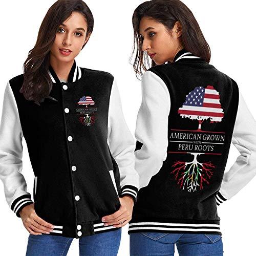 BYYKK Chaquetas Ropa Deportiva Abrigos, American Grown with Peru Roots Women's Long Sleeve Baseball Jacket Sweater Coat