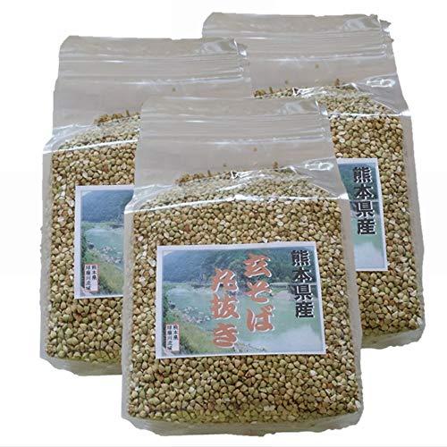 熊本県産 玄そば丸抜き実 ( そばの実 ) 1kg x3袋(計 3kg) [令和元年 熊本県産 玄そば 10割原料使用]