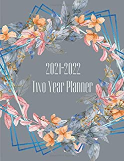 2021-2022 Two Year Planner: Peach Coral And Blue Floral Wreath Cover | 2 Year Calendar 2021-2022 Weekly Planner | 24 Month...