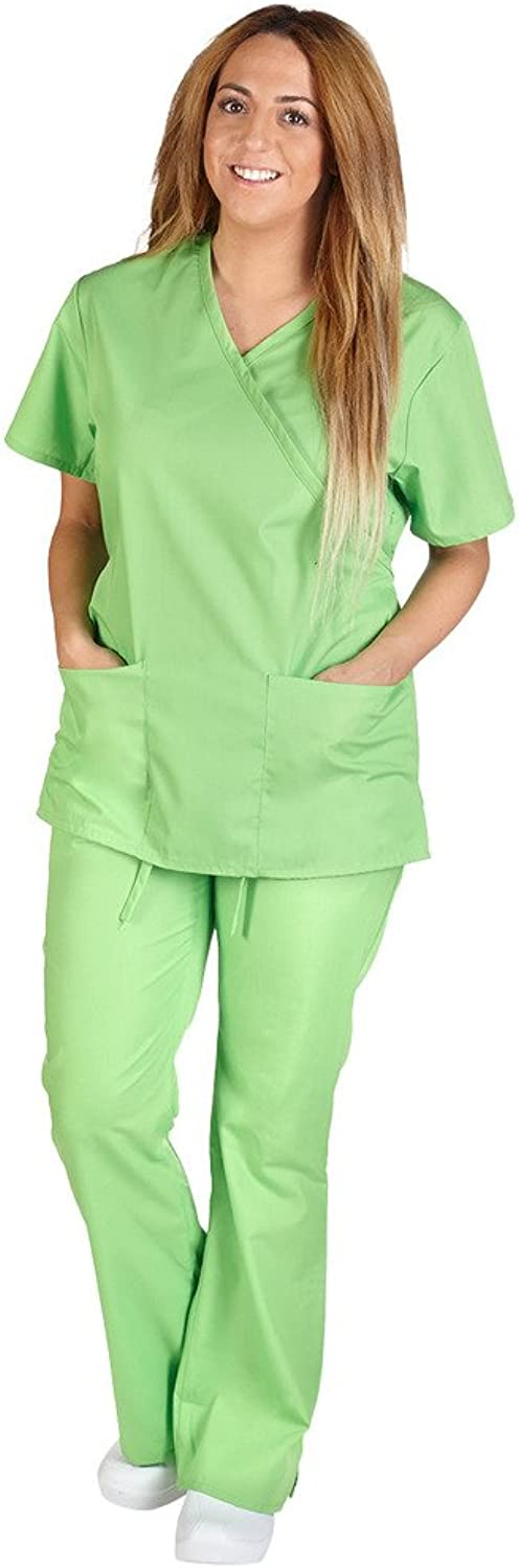 M&M Scrubs Women Mock Wrap Flare Pant Set Medical Scrub Set XXL Lime Green