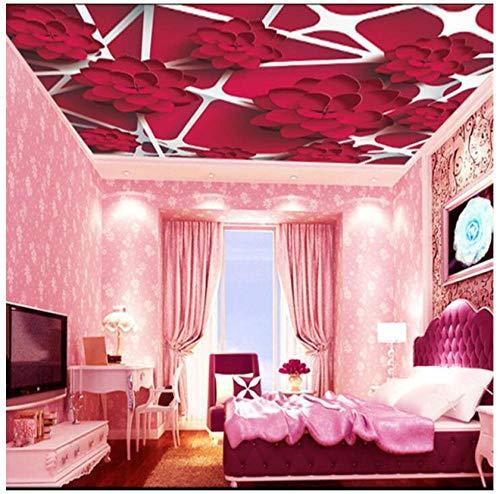 Wanddecoratie voor thuis, 3D-behang, personaliseerbaar, rode plant, geometrische strepen, plafondlamp, slaapkamer, eetkamer, achtergrond 250(w)x175(H)cm