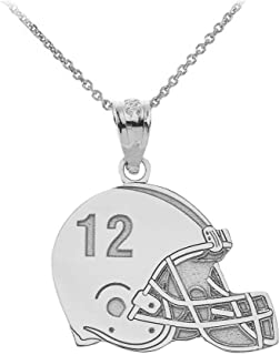Sports Charms 925 Sterling Silver Customized Football Helmet Necklace with Your Name and Number
