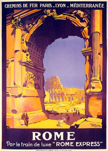 "ROME ITALIAN CAPITAL COLOSSEUM COLISEUM AMPHITHEATRE TOURISM TRAVEL ITALY EUROPE 16"" X 24"" IMAGE SIZE VINTAGE POSTER REPRO"