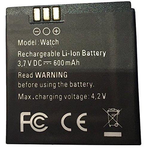 Unbekannt Akku Batterie 600mAh 3,7V für Enox WSP8802, Simvalley Smartwatch W-420.RX, AW-421.RX, AW-414.Go, GW-420, für iconBIT Callisto 100 und 300
