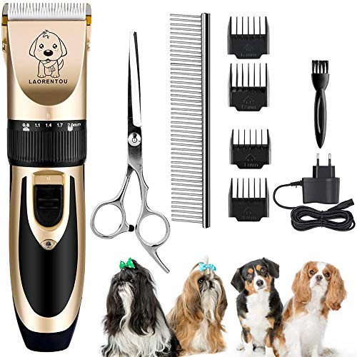 UEOTO Haarschneidemaschine für Hunde, Elektrisch Katze Hund Schneidemaschine Trimmer Fellpflege Kit mit 4 Kamm/Schere/Edelstahl Kamm, Haustier Tierhaarschneider Leise Vibration Schermaschine für Hund