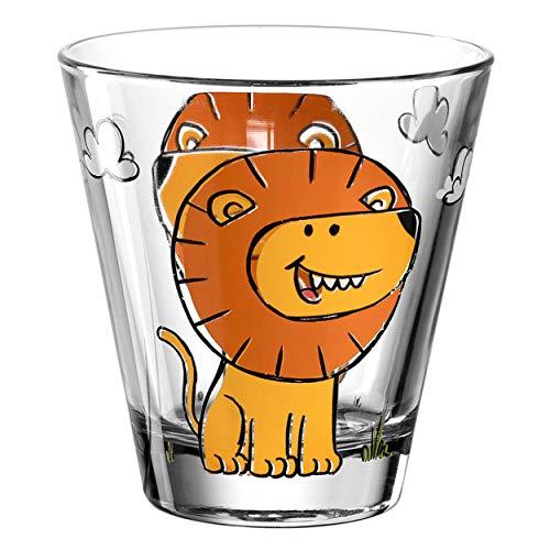 Leonardo Bambini Trink-Glas, Kinder-Becher aus Glas mit Tier-Motiv, spülmaschinengeeignetes Saft-Glas, 1 Stück, 215 ml, 017899