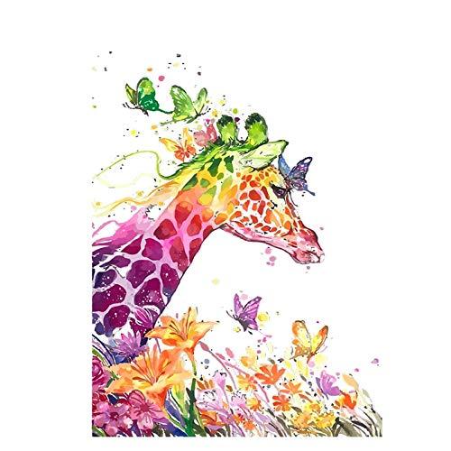 mlpnko Bunte Giraffentier DIY Digitale Malerei Kunst Leinwand Kinder Geschenk Hauptdekoration 40X50cm Rahmenlos