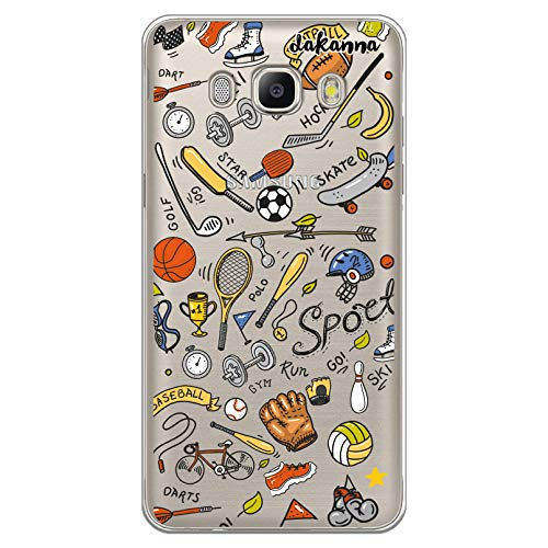 dakanna Funda para [Samsung Galaxy J5 2016] de Silicona Flexible, Dibujo Diseño [Pattern Figuras Deportivas, Tenis, Bicicleta, Futbol, Baloncesto y Gimnasio], Color [Fondo Transparente]