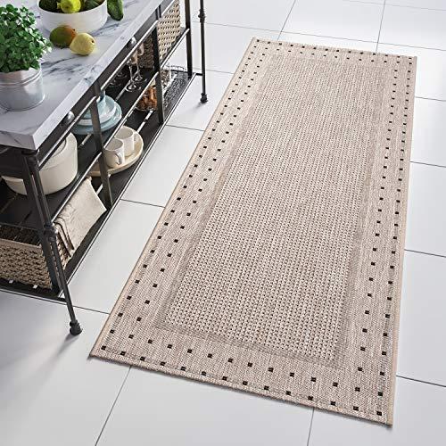 Tapiso Floorlux Teppich Läufer Meterware Flur Küche Wohnzimmer Indoor Sisal Optik Modern Figuren Beige Grau Flachgewebe nach Maß 70 x 170 cm
