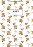 Cahier: Grand format A4 - 120 pages lignées - Motif forêt avec animaux et biche sourire aux lèvres.