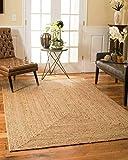 Crafts Jaipur Handgewebter Jute-Teppich, rund, Naturfasern, geflochtener Wendeteppich, 1,2 x 1,8 m