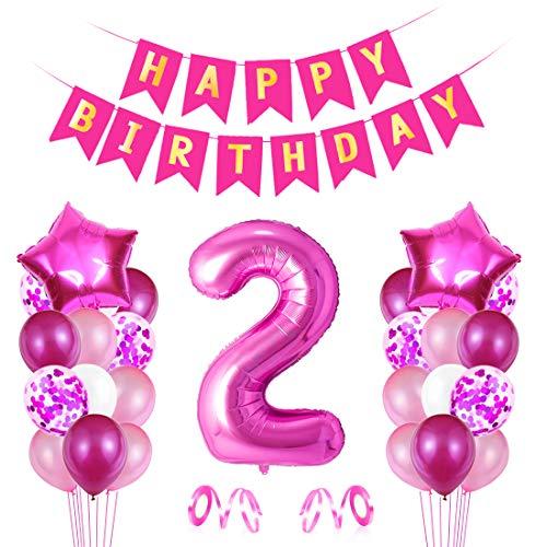 Globo Numero 2 Rosa, Decoración de Cumpleaños 2 en Rosa, Pancarta de Feliz Cumpleaños, Foil Helio Globo Númer, Globos de Fiesta, para Bodas Niña Cumpleaños Comunion Bautizo