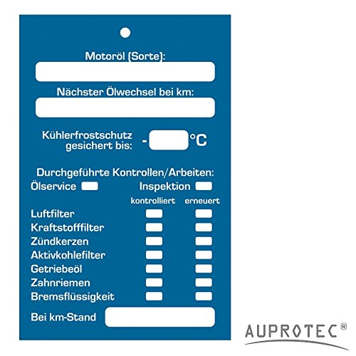 AUPROTEC Kundendienst Anhänger Serviceanhänger Werkstatt Spiegelanhänger Auswahl: 25 Stück, Anhänger Inspektionsanhänger
