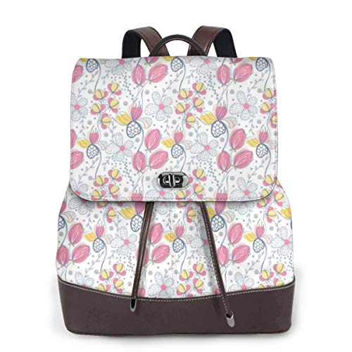 Women's Leather Backpack,Soft Toned Flower Bush Foliage Spring Blooms Natural Beauty Essence Pattern On White,School Travel Girls Ladies Rucksack