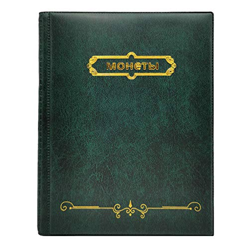 PU Leather Case Coins Stamp Plastic Album for Collector,10 Pages 250 Pockets Units Coin Collection Book for Commemorative Coin Collection (Fast Green)
