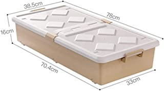 PPCP Storage Box Bed Bottom Plastic Flat Ultra-Thin Drawer Type Wheel Storage Box (Color : Brown)