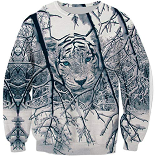 Mens 3D Felpa Animal Tiger Print Uomo Donna Pullover Casual Color as the Picture 2XL