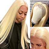 Deep Part 13x6 Lace Front Wig #613 Blonde Human Hair Lace Wigs with Pre-Plucked Hairline Thick 150% Density Afro Lace Wigs Full Ends with Baby Hair 16 Inch