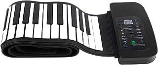 ammoon Roll Up Piano Teclado Portátil 88 Teclas Silicona Flexible Plegable Piano Manual con Pedal de Sostenimiento de la Batería