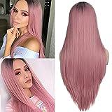 MixFactory Peluca de coser Jsmhh de color rosa largo para mujer, pelo sintético recto y sedoso, la mejor peluca natural Ombre rosa + raíces oscuras desgaste diario o peluca de disfraz (color rosa