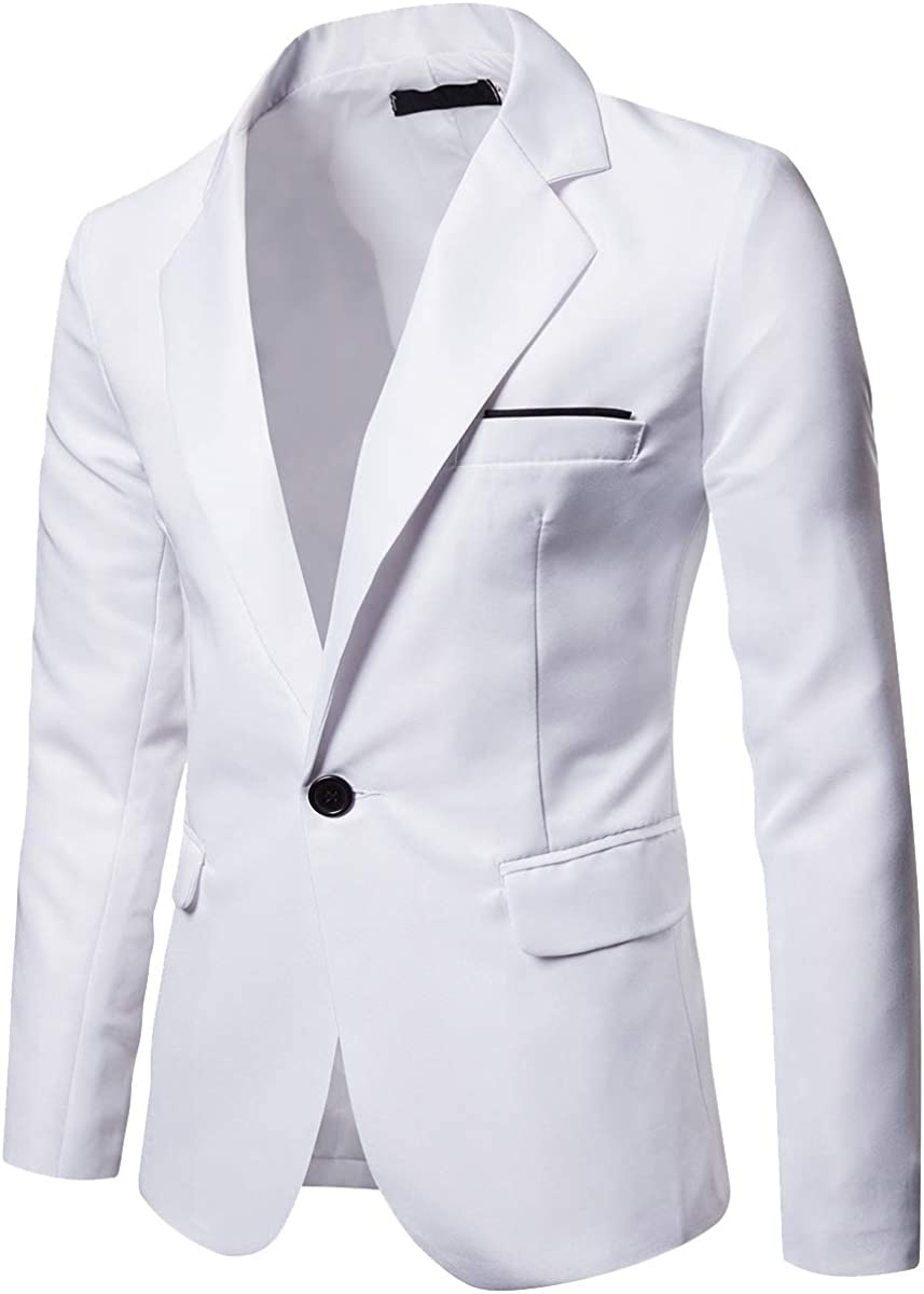 Cottory Men's One Button Slim Fit Suit Sport Coat Casual Business Lapel Daily Blazers Jacket