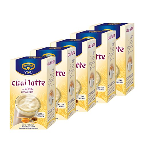 Krüger Chai Latte Lovely India, Honig-Geschmack, mildes Milchtee Getränk, 5er Pack, 5 x 10 Portionsbeutel