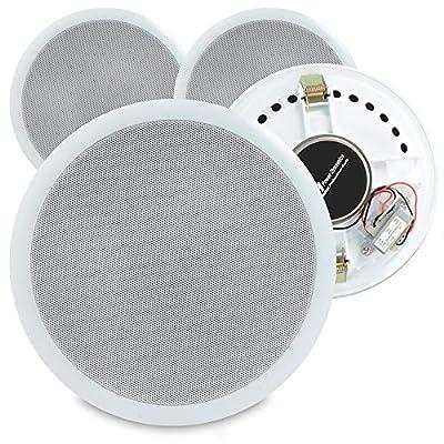 Power Dynamics 4 White 100V Line 8 Inch Ceiling Speakers Restaurant School Gym Audio Setup PD CSPB8
