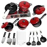 ふりキッチン食器おもちゃ食器ハウス調理器具鍋パン食品皿赤食器セット家庭用炊飯器子供のおもちゃ(13ピース)