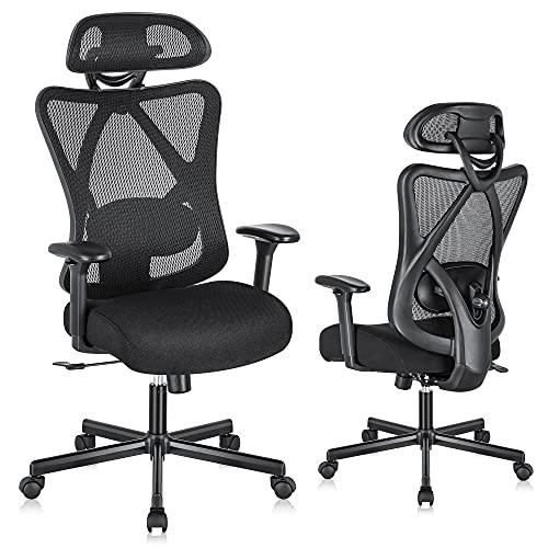 SUNNOW Ergonomic Office Chair with Adjustable Lumbar Support, High-Back Mesh Computer Chair - Headrest, Soft Sponge Cushion & Tilt Function, Swivel Desk Task Chair for Work Home