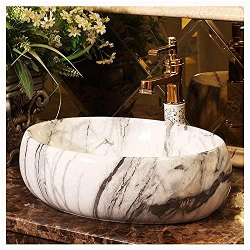AZYJ Lavabo sobre Encimera Mármol Ovalado,Fregadero Piedra Rustico Blanco,Lavabo Piedra Natural Apertura del Grifo De Un Solo Orificio Baño WC(Size:47 * 34 * 14CM,Color:Lavabo sobre encimera)