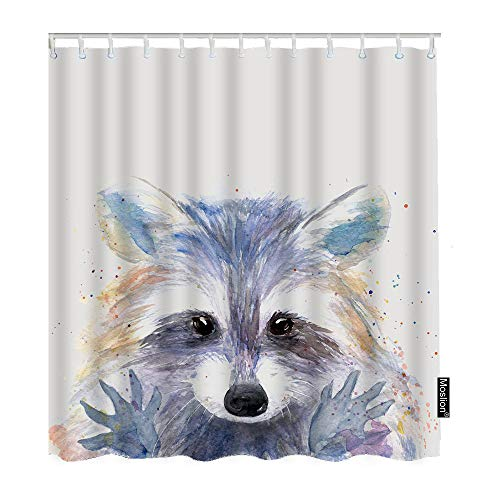 Moslion Cartoon Raccoon Shower Curtain Watercolor Animal Cute Face Hand Drawn Splash Painting FunnyShowerCurtain Gift for Bathroom Decoration Polyester60Wx72H Inch
